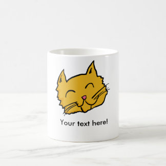Caneca De Café Botão feliz do gato