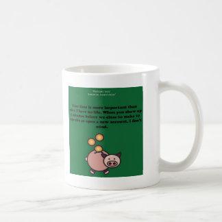 Caneca de café branca do humor do banco (2-Sided)