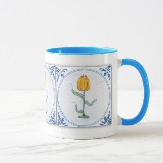 Caneca de café branco azul da arte do azulejo da