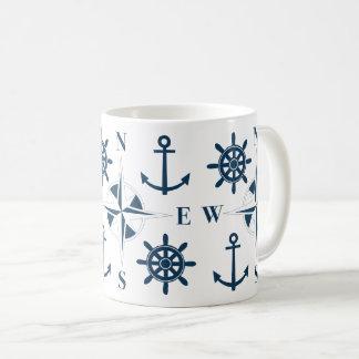 Caneca De Café Branco do marinho das âncoras & do compasso da