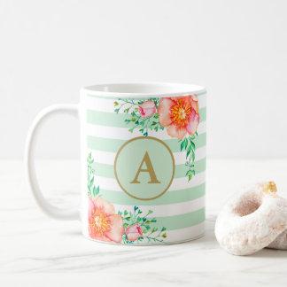 Caneca De Café Branco floral da hortelã do monograma do ouro do