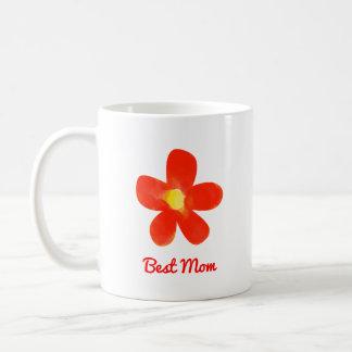 Caneca De Café Branco vermelho da flor da melhor aguarela da mamã