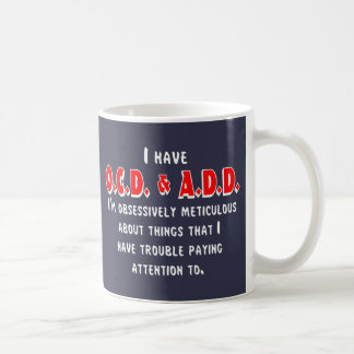 Caneca De Café Branco/vermelho de OCD-ADD