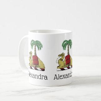 Caneca De Café Brasão heráldica da cor da palmeira do camelo