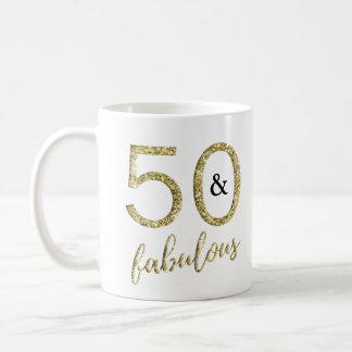 Caneca De Café Brilho 50 do falso do ouro e fabuloso