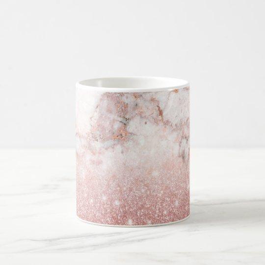 Caneca De Café Brilho cor-de-rosa Ombre de mármore branco do ouro