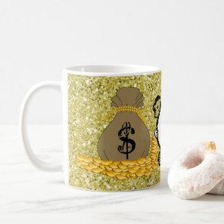 Caneca De Café Brilho do falso do ouro das bolsas do dinheiro