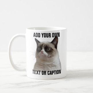 Caneca De Café Brilho mal-humorado do gato - adicione seu próprio
