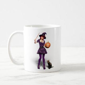 Caneca De Café Bruxa bonito do Dia das Bruxas com gato preto e