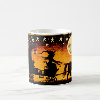 Caneca De Café Bruxa do Dia das Bruxas na Lua cheia do esqueleto