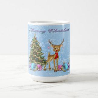 Caneca De Café Bulbos do Natal da árvore de Natal da rena
