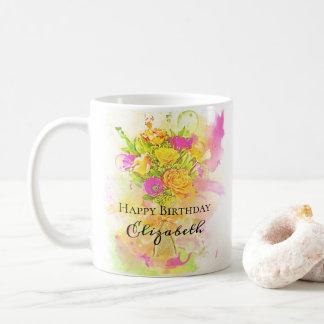 Caneca De Café Buquê da flor da aguarela do aniversário