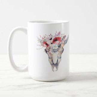Caneca De Café Buquê tribal das penas & das flores de Boho Bull