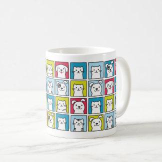 Caneca De Café Cães & teste padrão bonitos, engraçados dos gatos