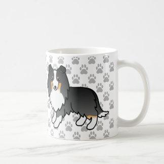 Caneca De Café Cães Tricolor bonitos de Sheltie e patas cinzentas
