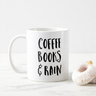 Caneca De Café Café, livros & citações da chuva