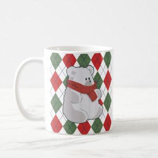 Caneca De Café Camisola feia do Natal do urso polar da xadrez