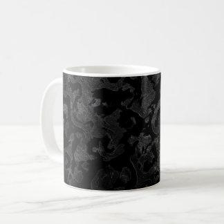 Caneca De Café Camuflagem cinzenta preta e escura de Camo moderno