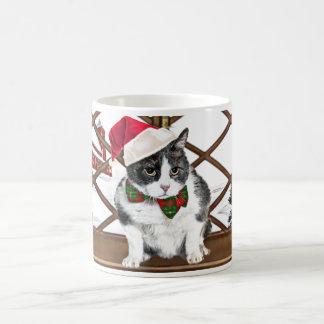 Caneca De Café caneca:  Felix, o gato, no Natal