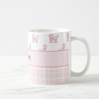 Caneca De Café Caniches & verificações cor-de-rosa do rosa