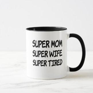 Caneca de café cansado super da esposa super super