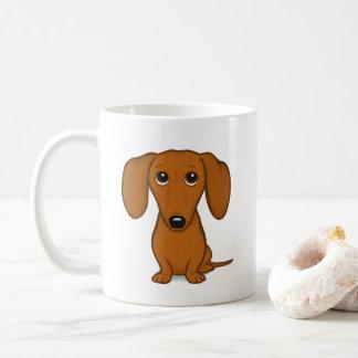Caneca De Café Cão bonito vermelho de cabelos curtos do Wiener do