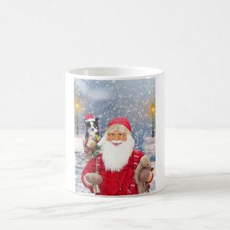 Caneca De Café Cão de border collie dos presentes do Natal de