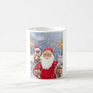 Caneca De Café Cão do Pug dos presentes do Natal de Papai Noel w