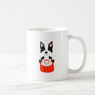 Caneca De Café Cão legal de Boston Terrier que joga cilindros