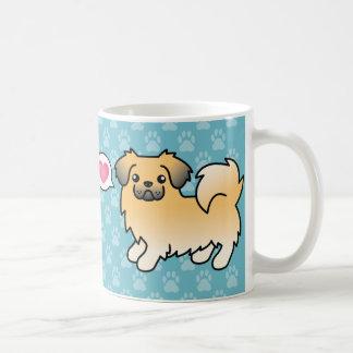Caneca De Café Cão tibetano dos desenhos animados do Spaniel do