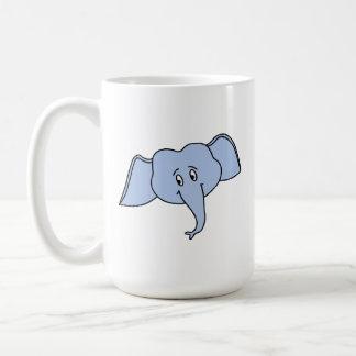 Caneca De Café Cara azul do elefante. Desenhos animados
