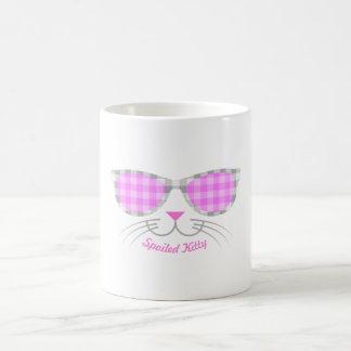 Caneca De Café Cara estragada do gato do gatinho nas máscaras