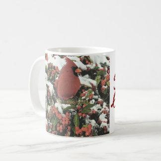 Caneca de café cardinal do feriado dos