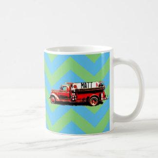 Caneca De Café Carro de bombeiros vermelho do vintage