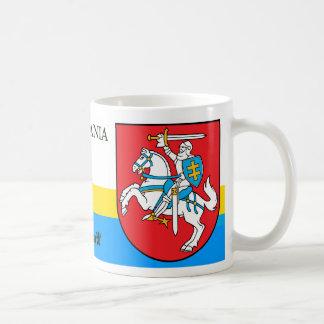 Caneca De Café Cavaleiro com a brasão Lithuania da espada e do