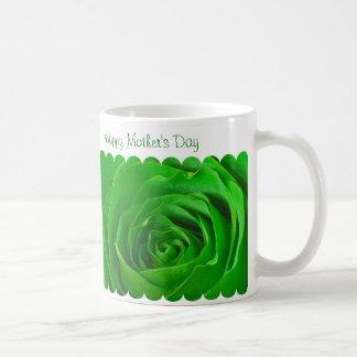 Caneca De Café Centro feliz do rosa verde do dia das mães