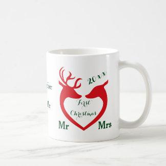 Caneca De Café Cervos casados primeiro Natal personalizados do