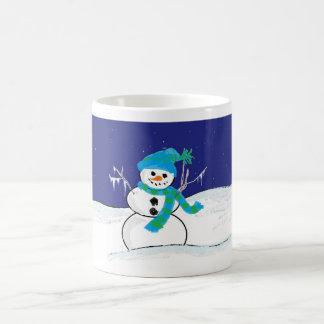 Caneca De Café Céus nocturnos do boneco de neve personalizados