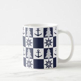 Caneca De Café Checkered branco azul náutico