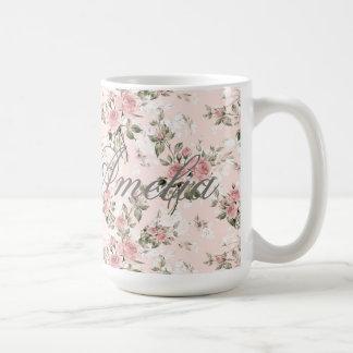 Caneca De Café Chique, chique francês, vintage, floral, rústico,