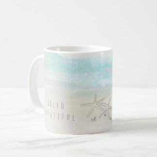 Caneca De Café Chique elegante do verão da estrela do mar branca