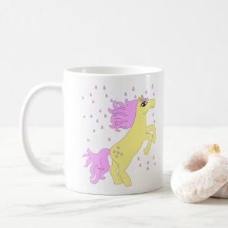 Caneca De Café Chuva cor-de-rosa mágica do cavalo do açúcar
