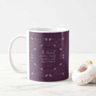 Caneca De Café Citações florais roxas do amor de Jane Austen Emma