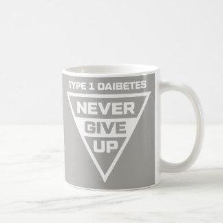 Caneca De Café Citações inspiradas do diabetes - o tipo 1 nunca