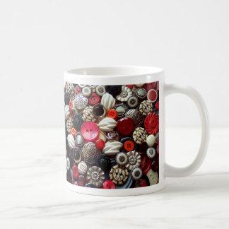 Caneca De Café Colagem preta e de prata vermelha do botão
