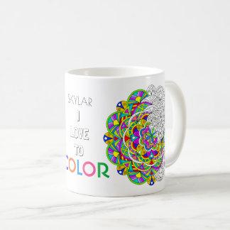 Caneca De Café Coloração que do adulto da mandala 010617 eu amo