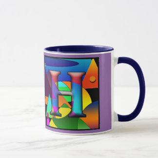 Caneca de café com iniciais E & H