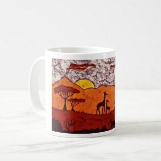 Caneca de café com paisagem africana