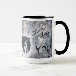 Caneca de café com pintura de border collie
