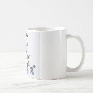caneca de café com uma imagem de uma molécula da
